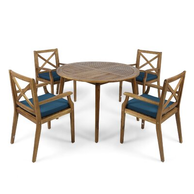Hagues Outdoor Acacia Wood 5 Piece Dining Set with Cushions by Charlton Home