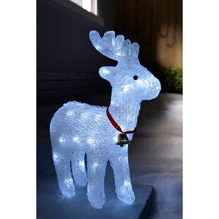 38cm Reindeer Garden Christmas Acrylic Lighted Display With 40 LED Image