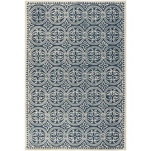 Clearance Fairburn Hand-Tufted Wool Navy/Ivory Area Rug By House of Hampton
