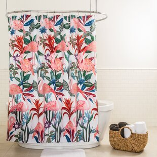 Affordable Huddleston Flamingo Fabric Shower Curtain ByBayou Breeze