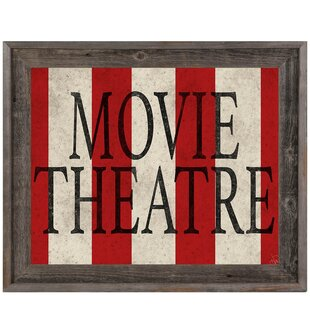 'Movie Theater Stripes' Framed Textual Art by Click Wall Art