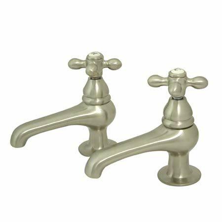 Elements Of Design Widespread Bathroom Faucet With Metal Cross