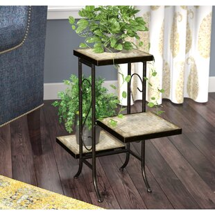Noreen MultiTier Plant Stand with Travertine Top by Fleur De Lis Living