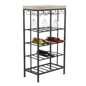 Wilcoxen Rustic Iron and Pine Wood 4-Tiered Tabletop Wine Bottle Rack by Brayden Studio