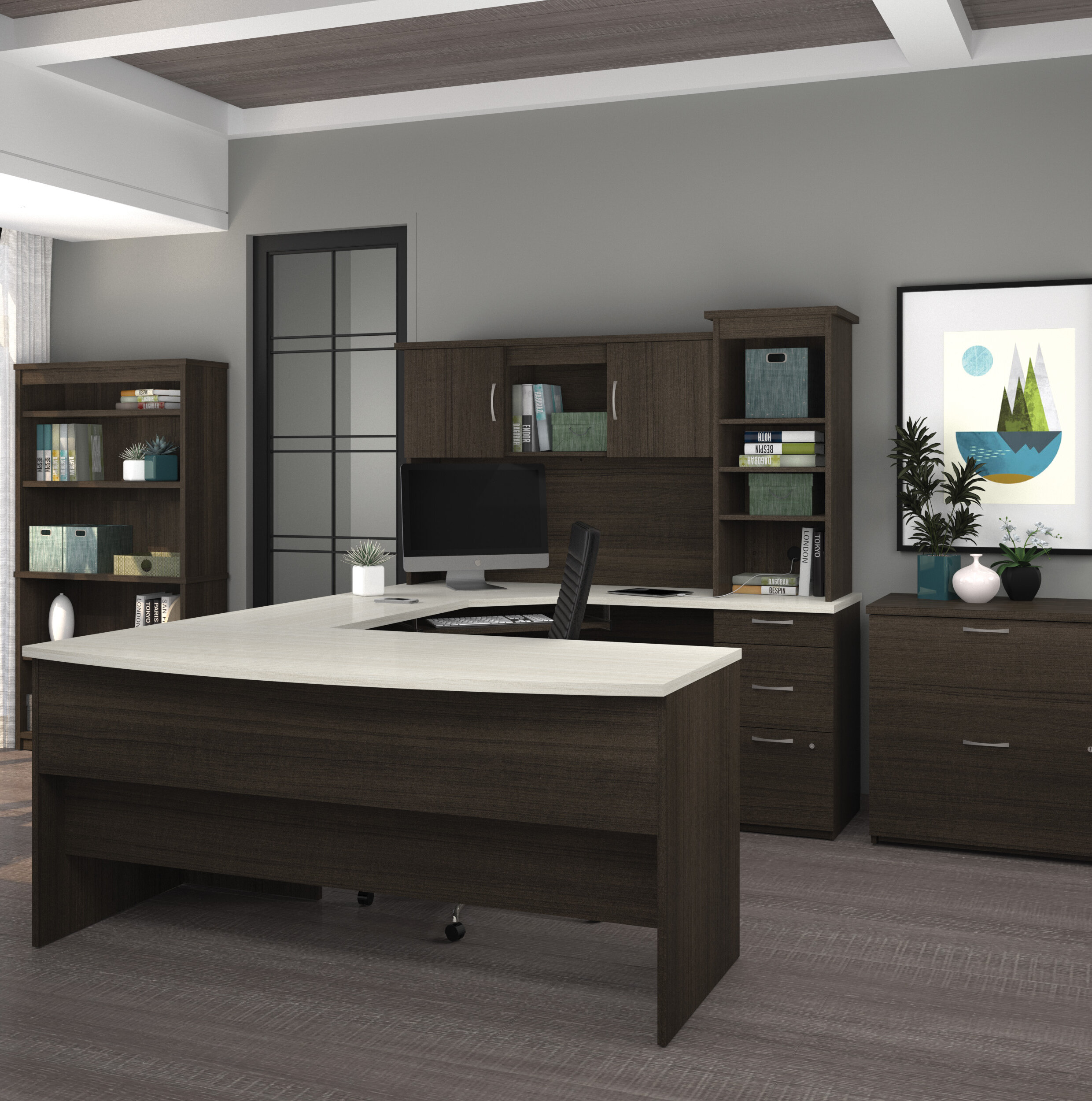 Latitude Run Wahyudidesk With Hutch 3 Lateral File And Bookcase Wayfair