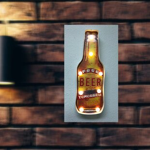 Free Beer Tomorrow Sign Hanging Lamp By Red Barrel Studio