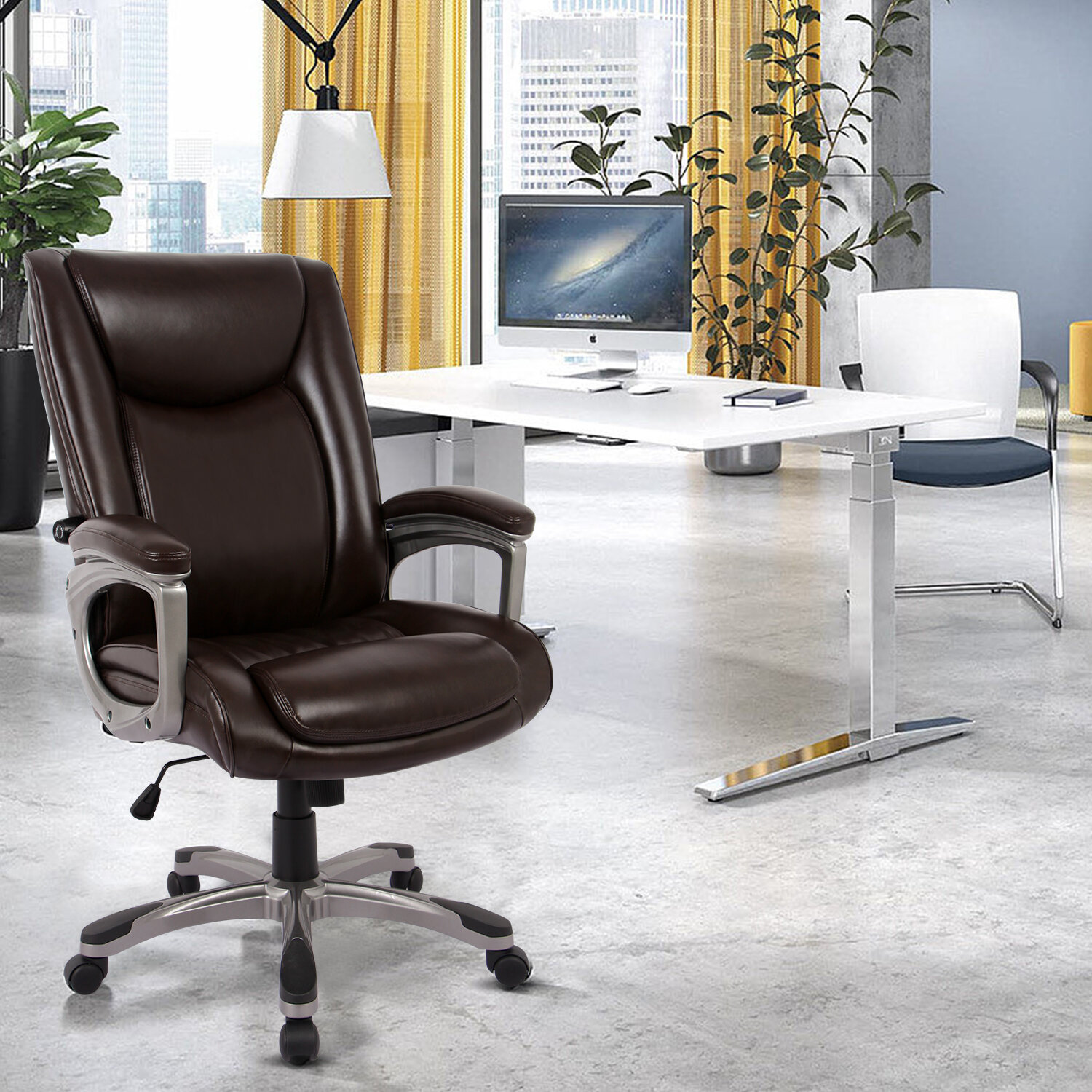 Picture of: Latitude Run Ergonomic Memory Foam Executive Office Chair Adjustable Height Built In Lumbar Support Tilt Angle Computer Desk Brown Chair Swivel Thick Padded For Comfort Brown Wayfair Ca