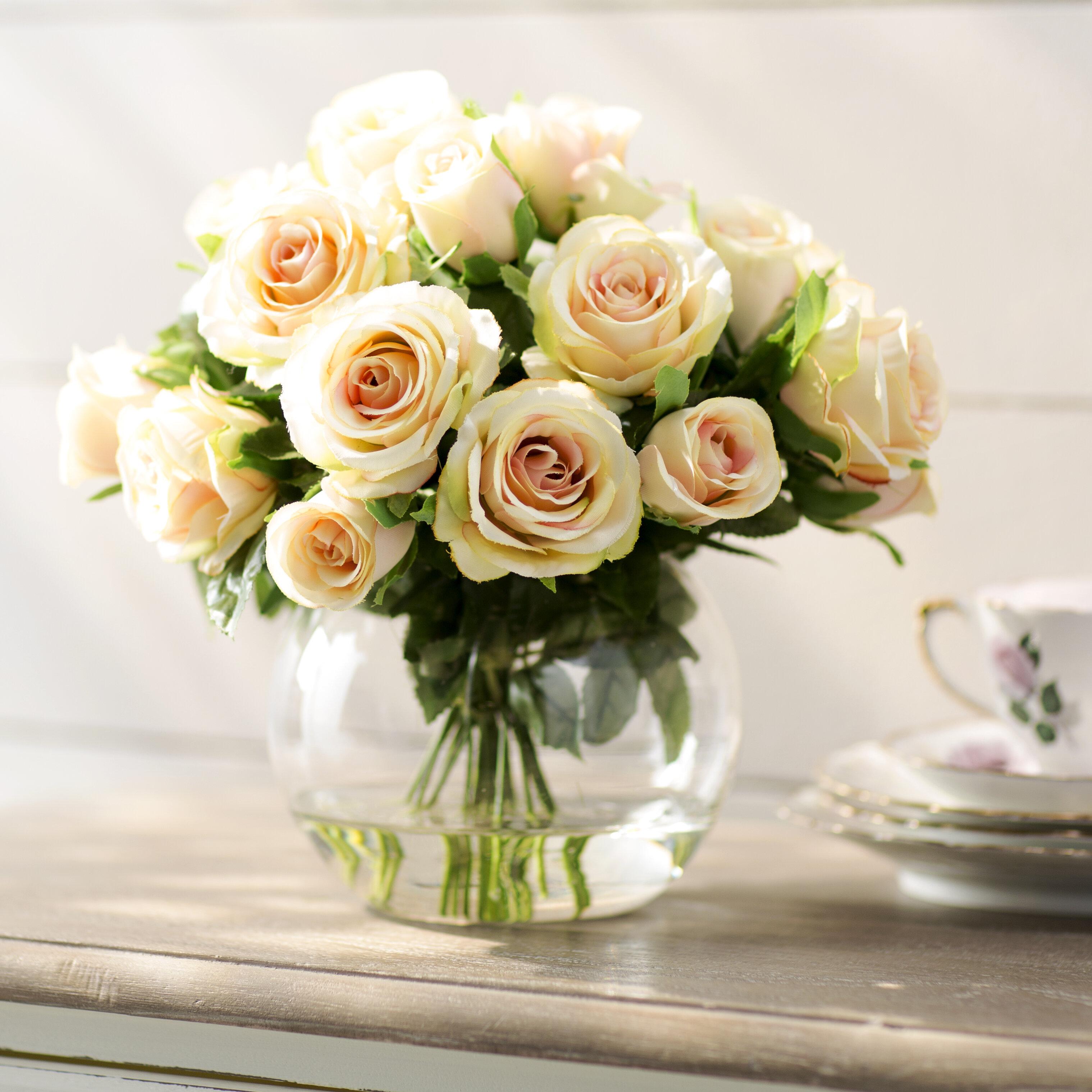 Lark Manor Sainte Rose Floral Arrangement In Glass Cup Vase Reviews Wayfair