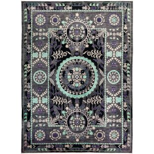 Best Reviews One-of-a-Kind Hand-Knotted 122 x 164 Wool Black Area Rug By Isabelline