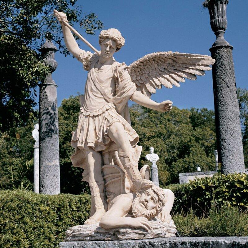 design toscano st michael the archangel garden angel statue