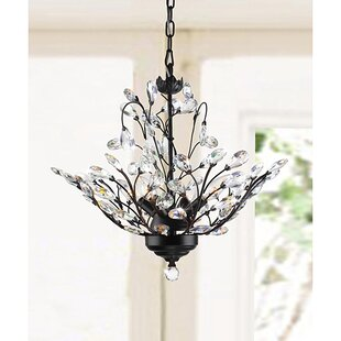 Wallenstein Leaves 4-Light LED Candle Style Chandelier