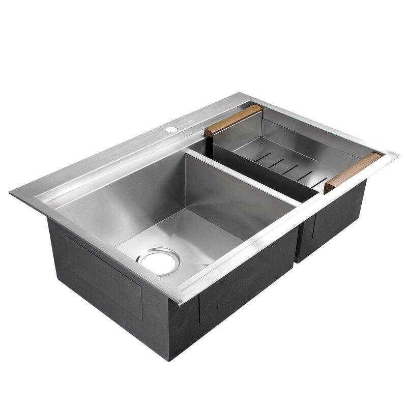 Akdy handmade 32 x 22 double basin drop in kitchen sink with tray handmade 32 x 22 double basin drop in kitchen sink with tray workwithnaturefo