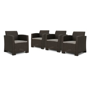 Lundell Wicker Patio Chair with Cushions (Set of 4)