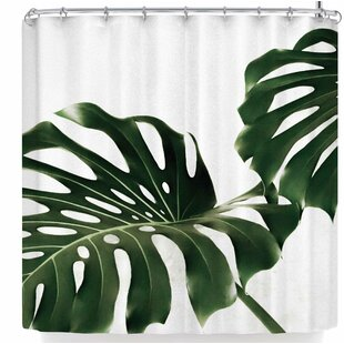 Ann Barnes Minimalist Monstera Single Shower Curtain