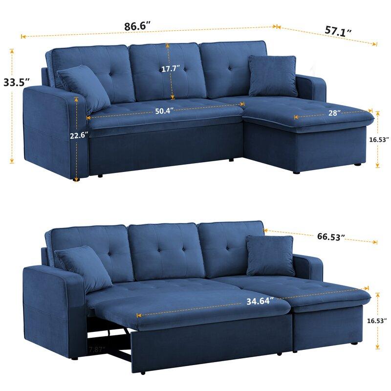 Latitude Run Dniyah Velvet 86 6 Square Arm Sofa Bed Wayfair