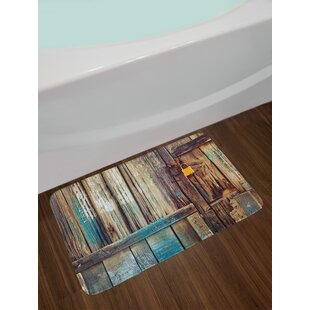 Aged Shed Door Backdrop with Color Details Living Exterior Pastoral Mansion Image Non-Slip Plush Bath Rug