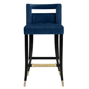 Cain Velvet Bar Stool by Everly Quinn