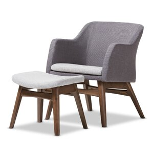 Victoria Mid-Century Modern Lounge Chair and Ottoman