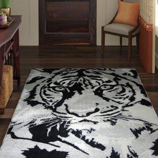 Compare Maggiemae Tiger Design Cotton Black/Gray Area Rug ByWorld Menagerie