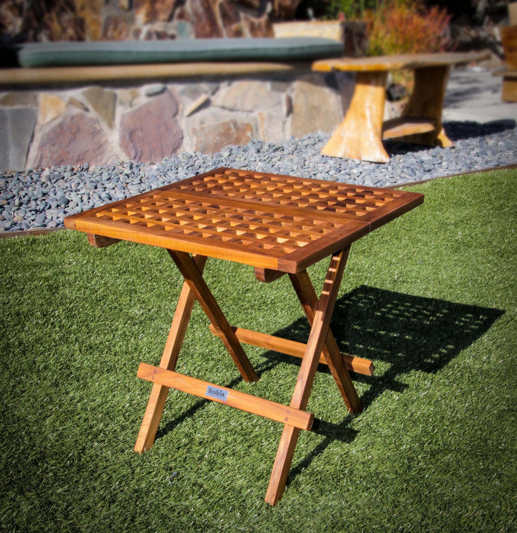 Picture of: Highland Dunes Brumiss Folding Teak Side Table Reviews Wayfair
