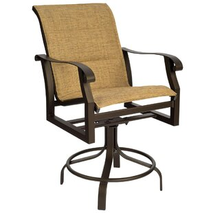 Woodard Cortland Sling Swivel Patio Bar Stool