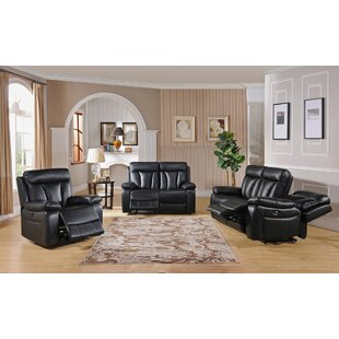 Muoi Reclining 3 Piece Leather Living Roo..