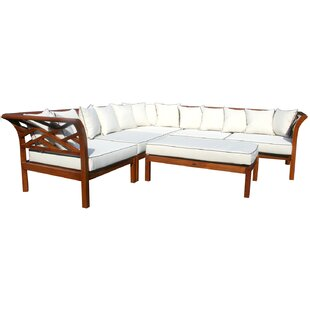 Chic Teak Long Island Teak Patio Sectional with Cushions