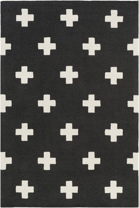 Litten Hand-Crafted Black/White Area Rug