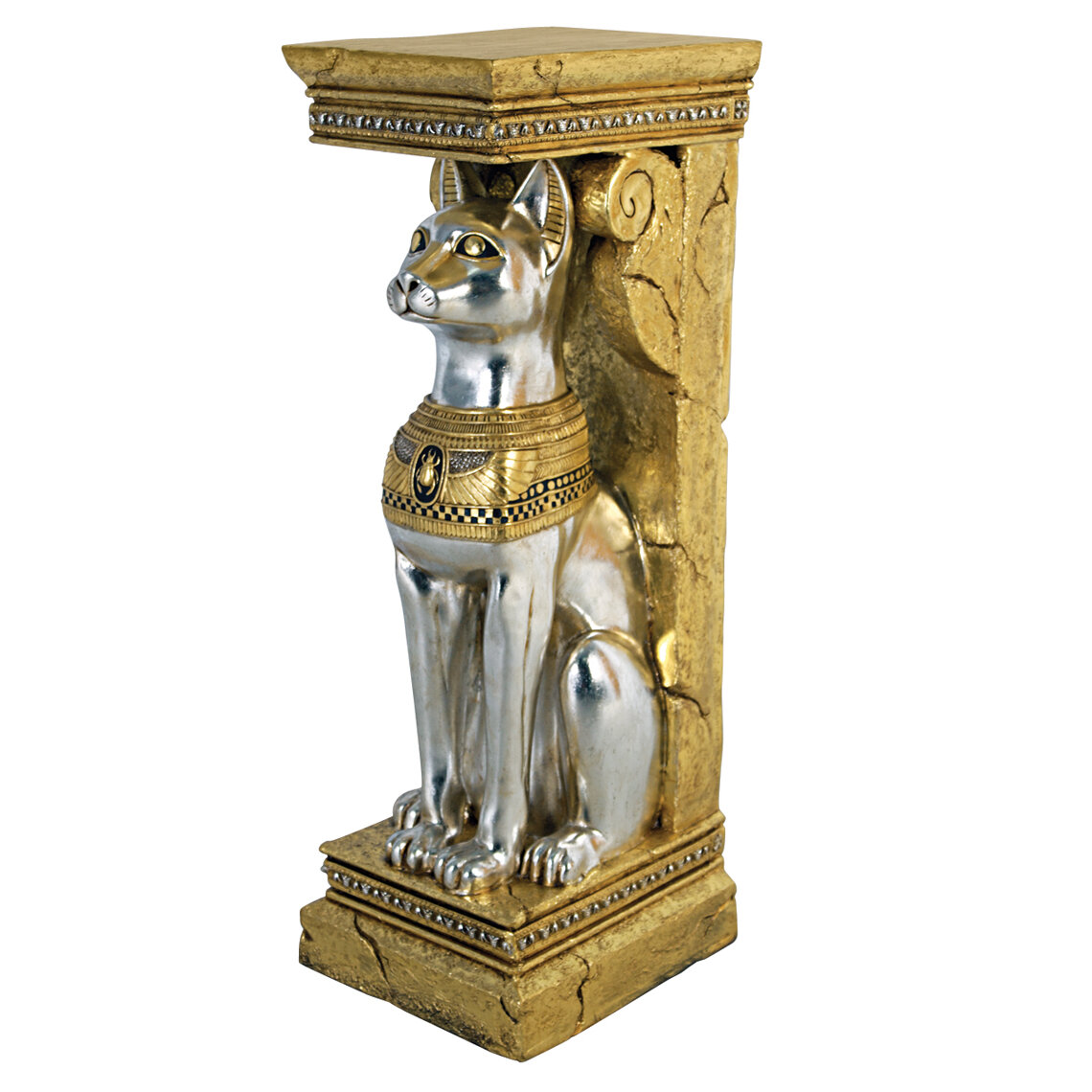 Design Toscano Egyptian Cat Goddess Bastet Pedestal Statue Wayfair