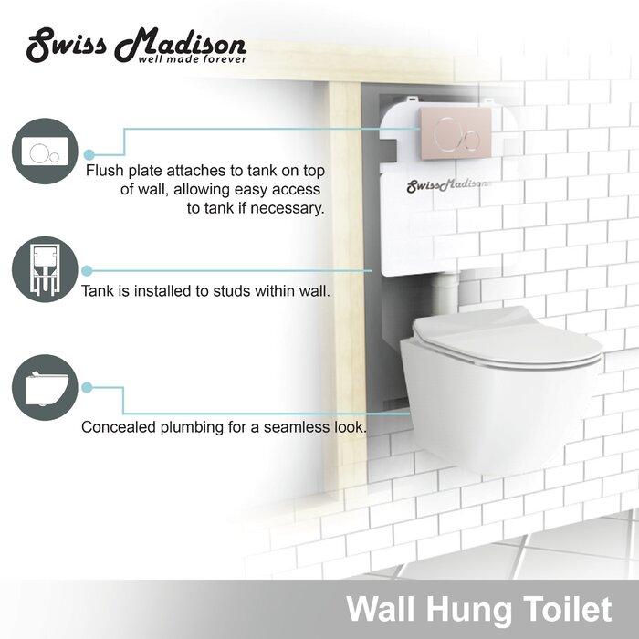 St Tropez Dual Flush Elongated Wall Hung Toilet Bowl
