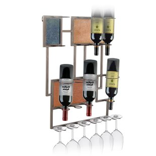Rhein Metal 8 Bottle Wall Mounted Wine Ra..