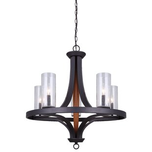 Darby Home Co Cathi 5-Light Wagon Wheel Chandelier
