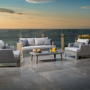 Shiey 4 Piece Sunbrella Sofa Seating Group with Cushions