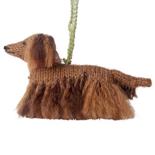 "HAND MADE LONG HAIR DACHSHUND DOG 3/"" GLASS CHRISTMAS ORNAMENT//BALL"