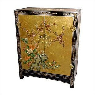 World Menagerie Camille Gold Leaf Lacquer Accent Cabinet