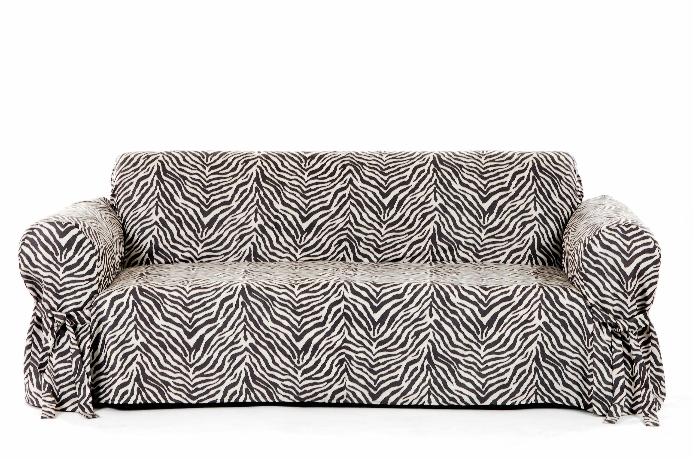 Zebra Print Box Cushion Sofa Slipcover