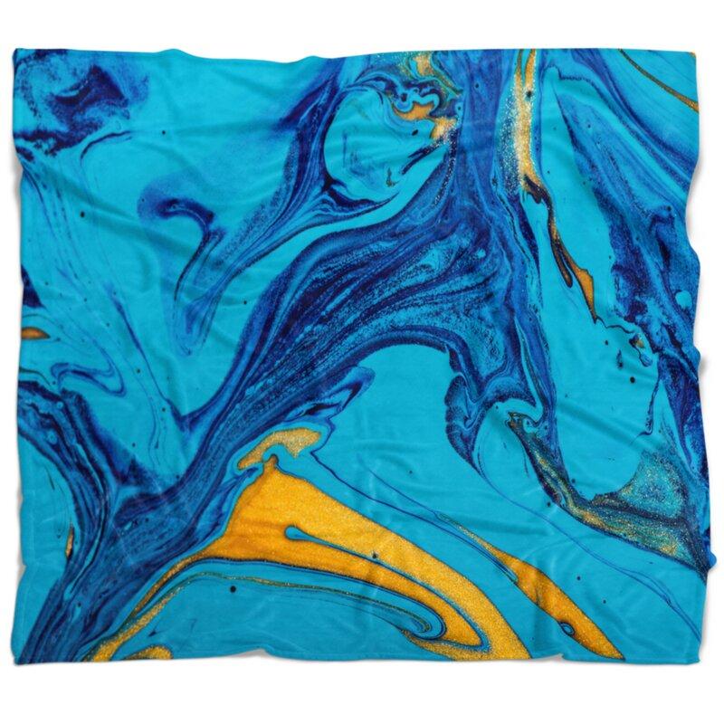 East Urban Home Abstract Acrylic Paint Mix Blanket Wayfair
