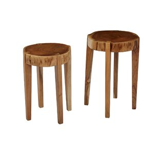 Thaney Wooden Round 2 Piece End Table Set