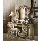 Orizaba Desk Vanity with Stool and Mirror by Astoria Grand