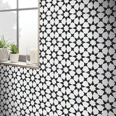 SAMPLE - Medina Cement Field Tile Color: White/Black