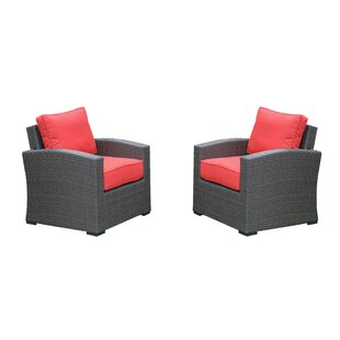 Estes Outdoor Wicker Club Patio Chair With Cushion (Set of 2)