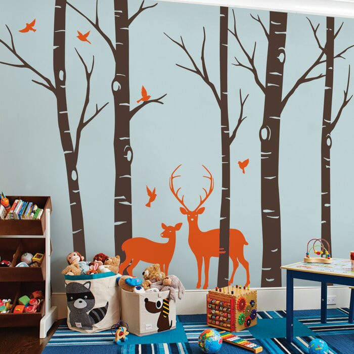 Birch Tree With Deer And Bird Wall Decal Part 74