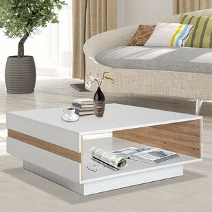 Pilton Two Tone Wooden Modern Rectangular Living Room Coffee Table With Storage - White / Oak
