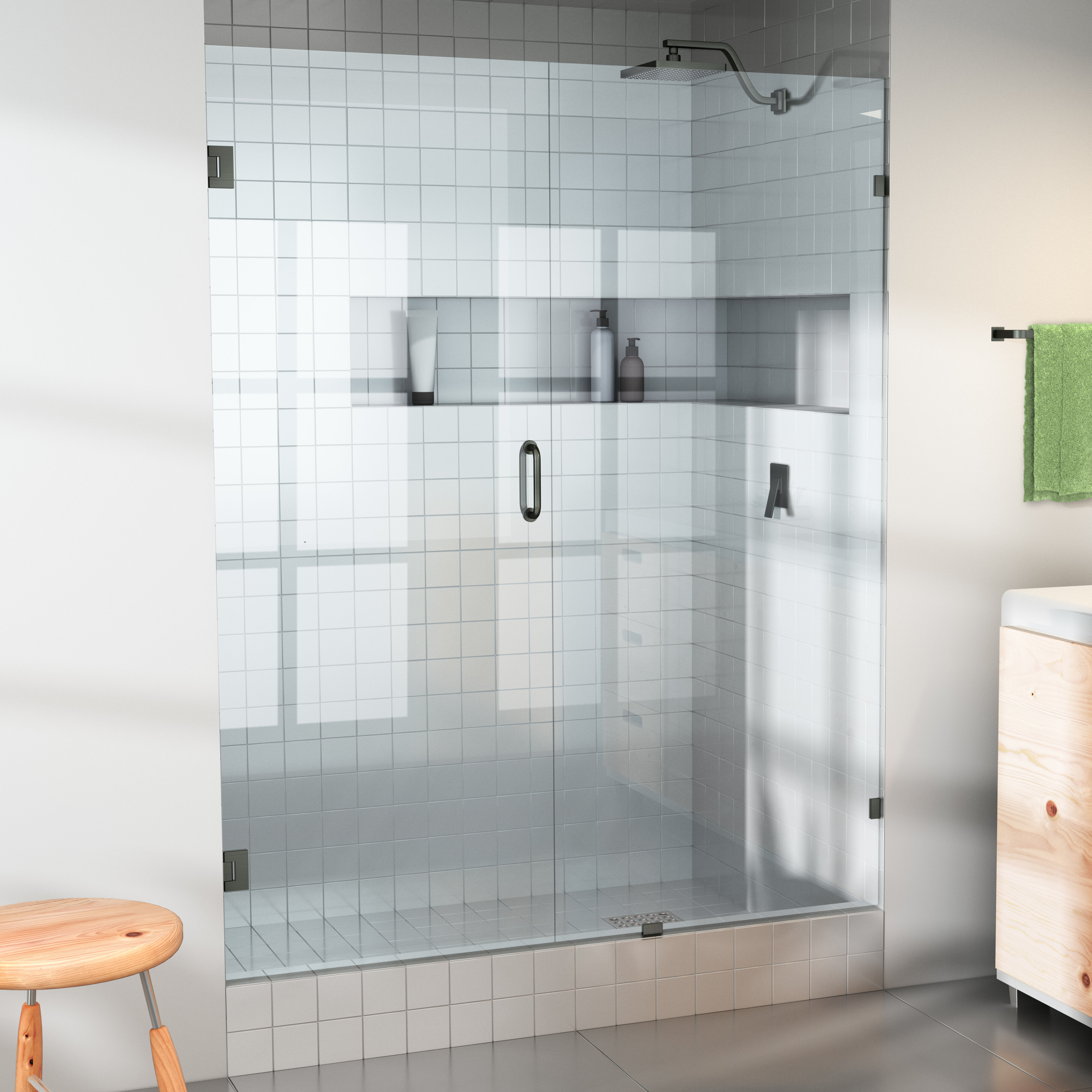 32 X 78 Hinged Frameless Shower Door