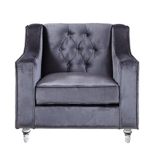 Iconic Home Dylan Silver Nailhead Trim Button Tufted Armchair
