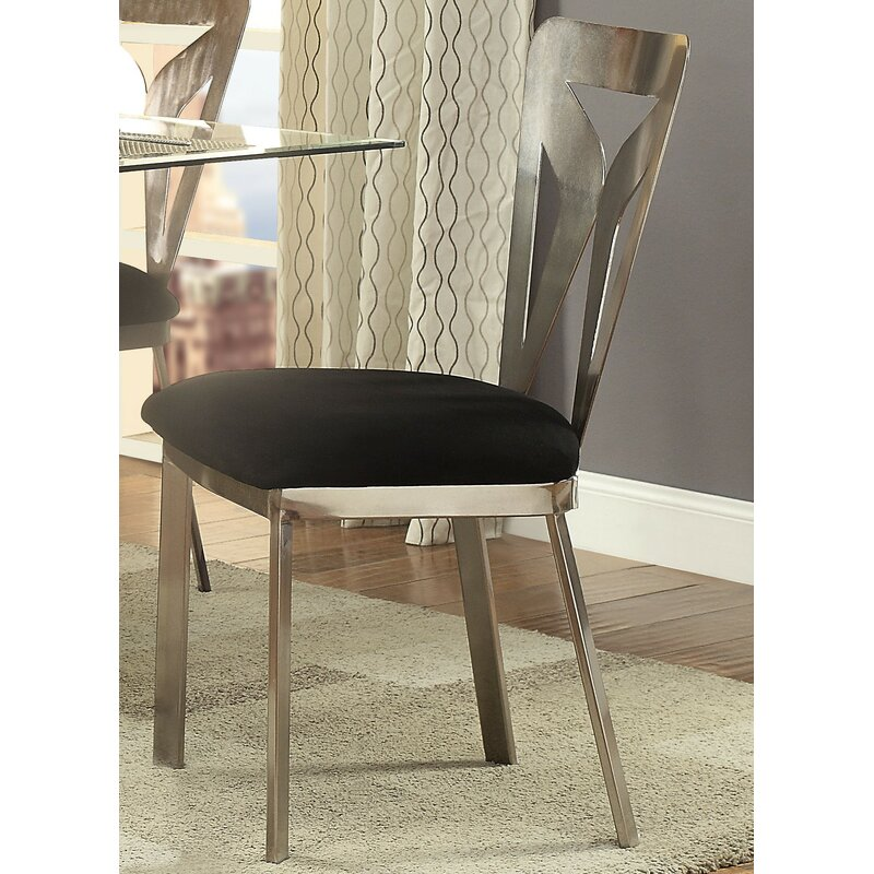 Orren Ellis Helena Metal Square Back Side Chair In Satin Plated Wayfair