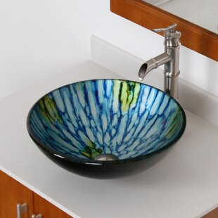 Best Double Layered Glass Circular Vessel Bathroom Sink By Elite