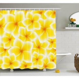 Plumeria Frangipani Asian Cute Flower Blossom Pattern Hawaiian Artwork Shower Curtain Set ByAmbesonne