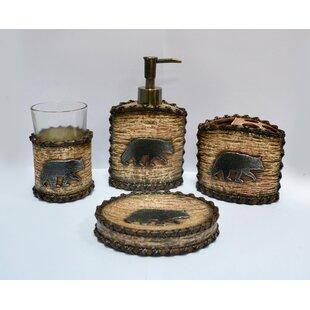 Rustic Bathroom Accessories Sets.Croftwood Rustic Bear Bathroom Accessory Set Set Of 2