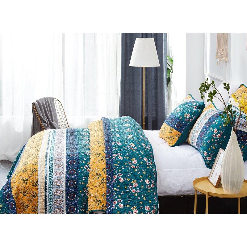 BEAUTIFUL CHIC BLUE TEAL AQUA YELLOW GREEN MOROCCAN BOHEMIAN GLOBAL QUILT SET